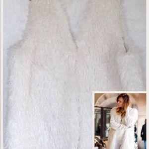 White Faux Fur Shaggy Vest
